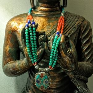 Jewelry - Tibetan Turquoise Lapis & Coral Color Necklace